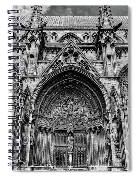 Lincoln Cathedral Side Entrance Monochrome Spiral Notebook by Scott Lyons