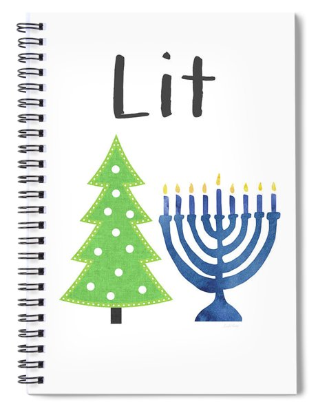 Lit Christmas And Hanukkah- Art By Linda Woods Spiral Notebook