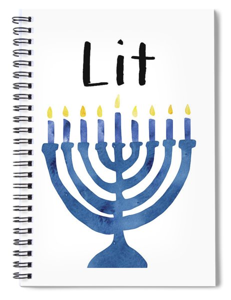 Lit Menorah- Art By Linda Woods Spiral Notebook