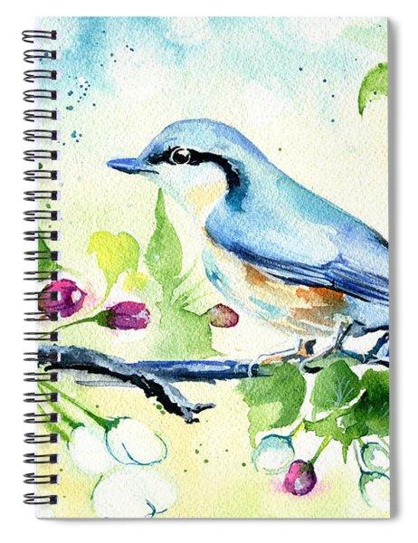 Little Blue Spring Bird Spiral Notebook