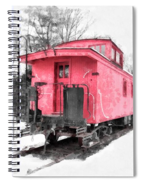 Little Red Caboose Watercolor Spiral Notebook