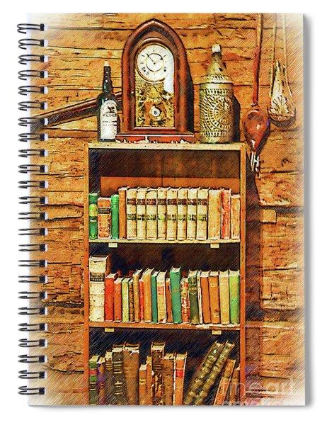 Log Cabin Book Case Sketched Spiral Notebook