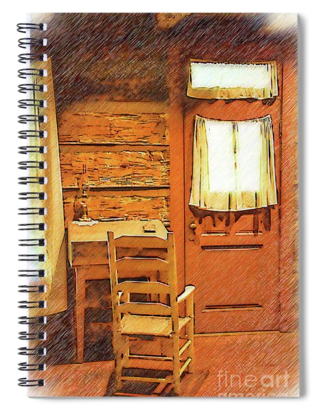 Log Cabin Desk, Chair And Door Spiral Notebook