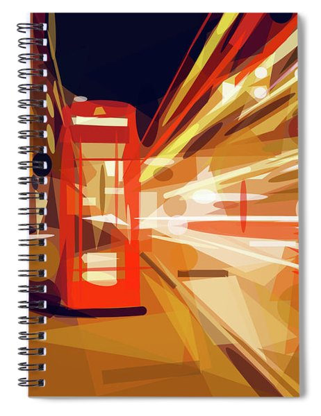 Spiral Notebook featuring the digital art London Phone Box by ISAW Company