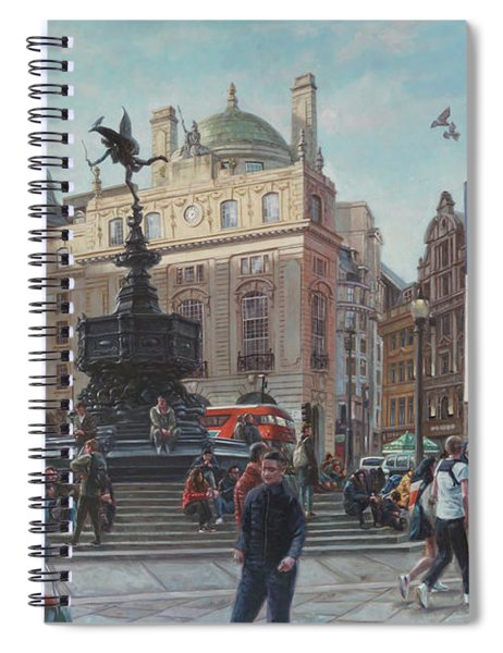 London Piccadilly Circus With Evening Light Spiral Notebook by Martin Davey