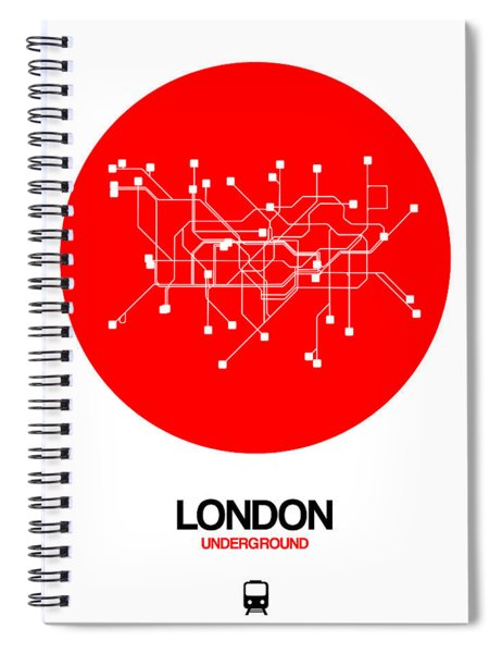 London Red Subway Map Spiral Notebook