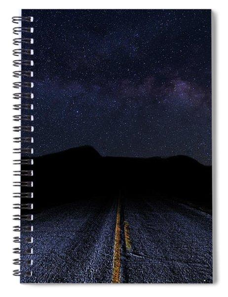 lonely Desert Road on a Starry Desert Night  Spiral Notebook