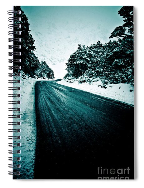 Lonely Road In The Countryside For A Car Trip And Disconnect From Stress Spiral Notebook