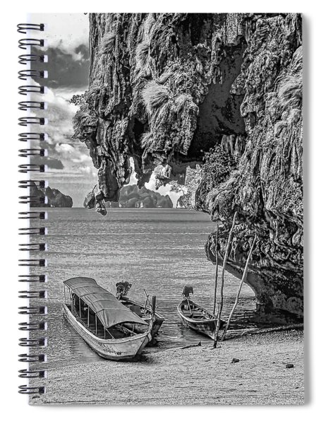 Longtail Boats - Phang Nga Bay - Thailand Bw Spiral Notebook