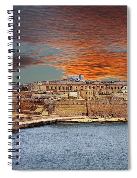 Looking Across Harbor From Fort St Elmo To  Fort Rikasoli Spiral Notebook