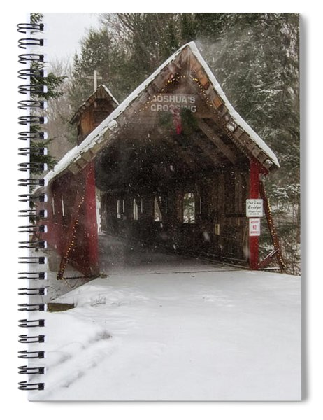 Spiral Notebook featuring the photograph Loon Song Covered Bridge 2 by Heather Kenward