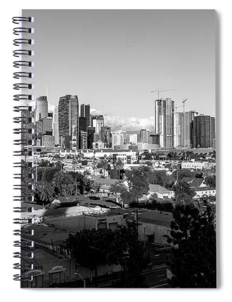 Los Angeles Skyline Looking East 2.9.19 - Black And White Spiral Notebook