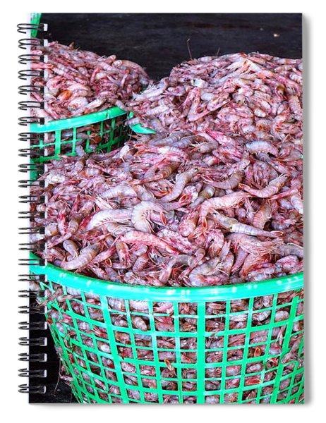 Lots Of Fresh Prawns At The Fish Market Spiral Notebook