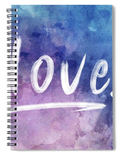 Love Watercolor In Blue Spiral Notebook