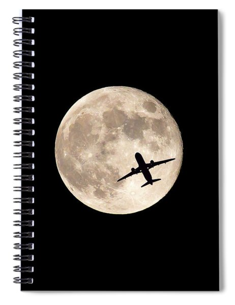 Strawberry Moon And Airliner Spiral Notebook