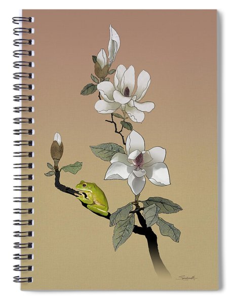 Magnolia And Tree Frog Spiral Notebook