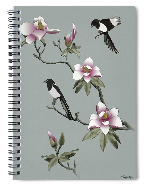 Magpies And Magnolia Spiral Notebook