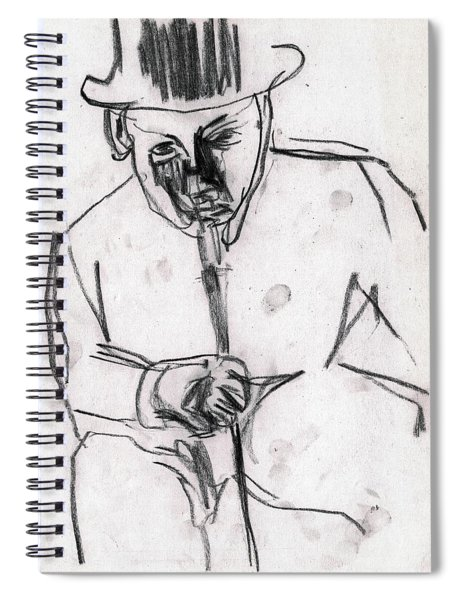 Man In Top Hat And Cane Spiral Notebook