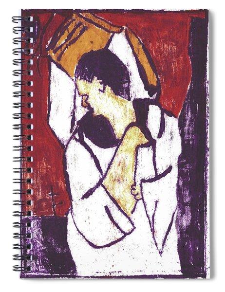 Man Sat On A Village Wall 3 Spiral Notebook