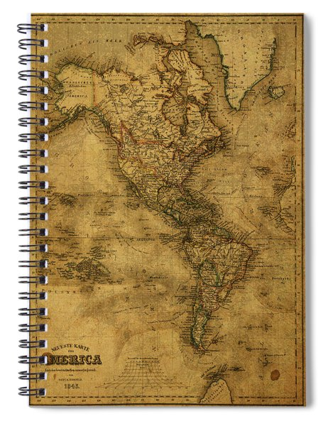 Map Of North America 1843 Spiral Notebook