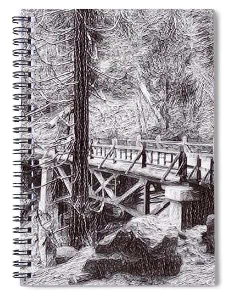 Marble Fork Bridge, Generals Highway, Three Rivers, Tulare County, Ca. 1929 Time Travel Art Spiral Notebook