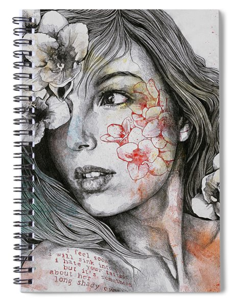 Mascara - Expressive Female Portrait With Freesias Spiral Notebook