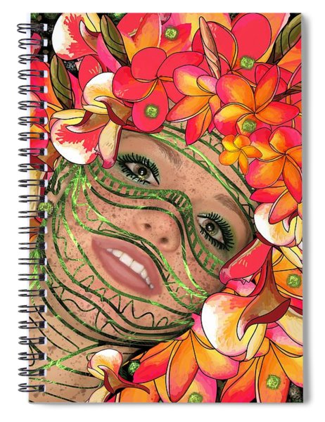 Mask Freckles And Flowers Spiral Notebook