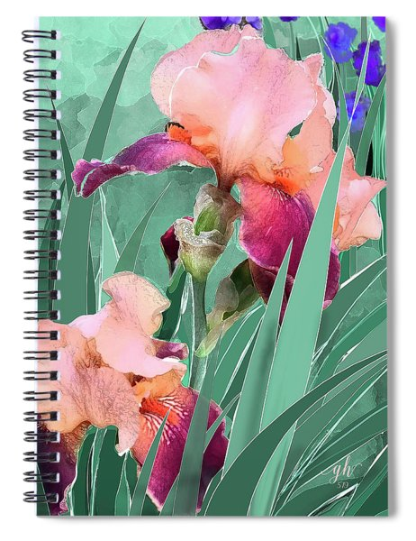 Spiral Notebook featuring the digital art May Garden by Gina Harrison