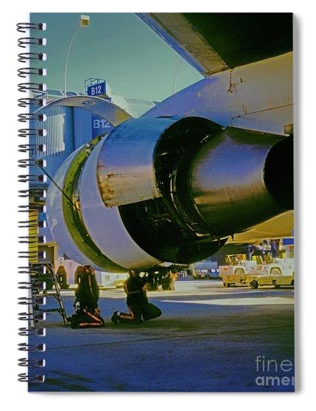 Mechanics Working On 767 Engine  Spiral Notebook