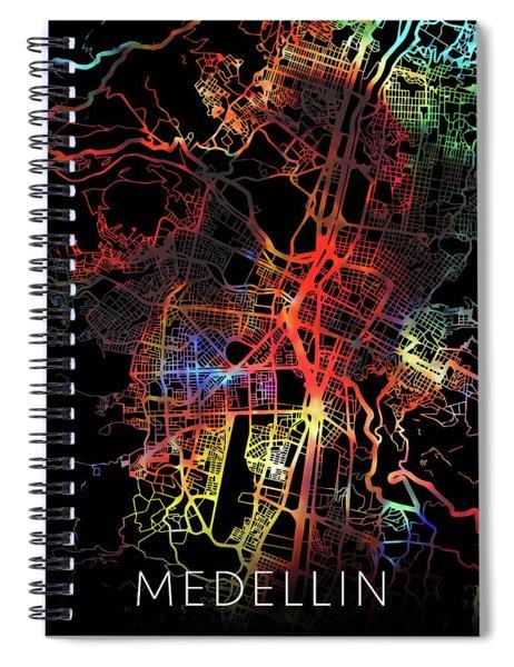 Medellin Colombia Watercolor City Street Map Dark Mode Spiral Notebook