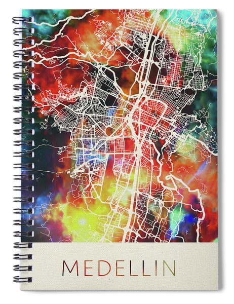 Medellin Colombia Watercolor City Street Map Spiral Notebook