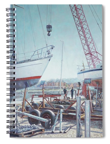 Spiral Notebook featuring the painting Men At Northam Southampton Boat Yard by Martin Davey