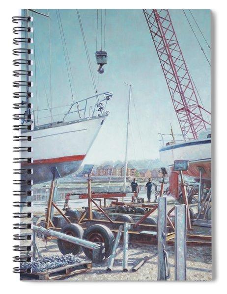 Men At Northam Southampton Boat Yard Spiral Notebook by Martin Davey