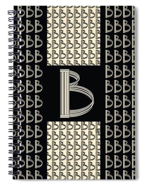 Metropolitan Park Deco 1920s Monogram Letter Initial B Spiral Notebook