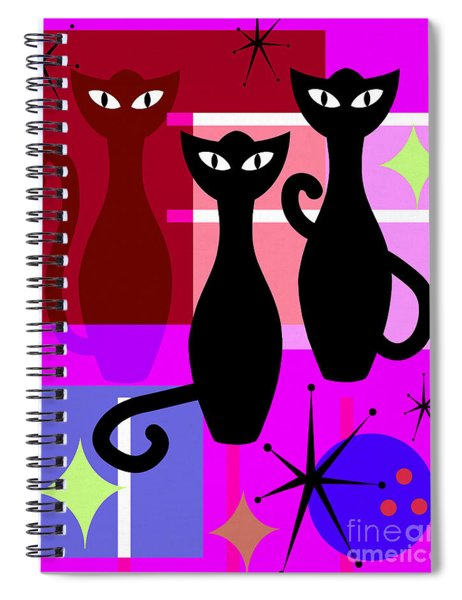 Mid Century Modern Abstract Mcm Bowling Alley Cats 20190113 M103 Spiral Notebook