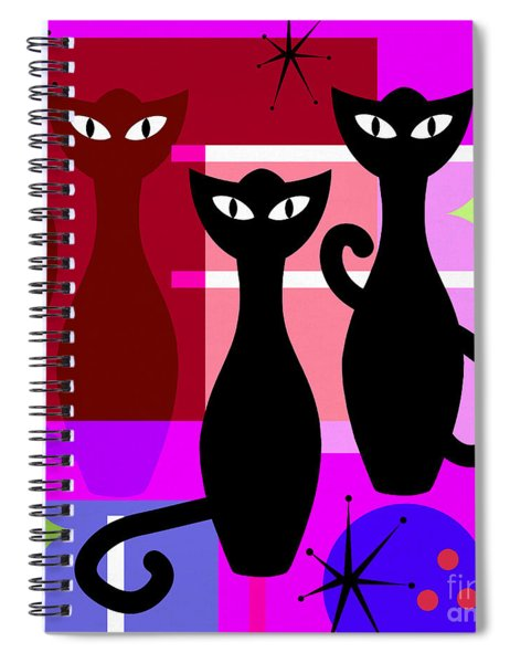 Mid Century Modern Abstract Mcm Bowling Alley Cats 20190113 Square M103 Spiral Notebook