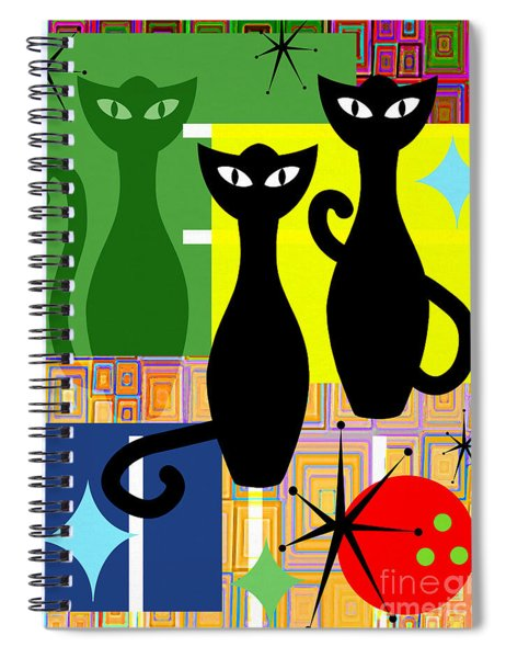 Mid Century Modern Abstract Mcm Bowling Alley Cats 20190113 V2 Spiral Notebook