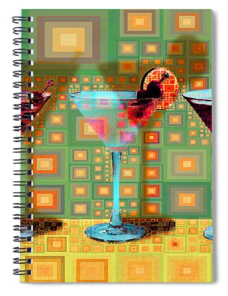 Mid Century Modern Abstract Mcm Three Martinis Shaken Not Stirred 20190127 V1a Spiral Notebook