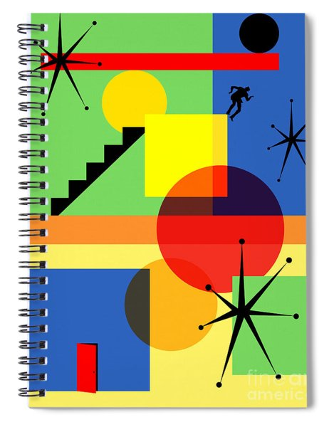 Mid Century Modern Abstract Over The Edge 20190106 Spiral Notebook