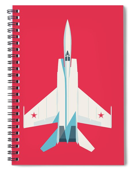 Mig-25 Foxbat Interceptor Jet Aircraft - Crimson Spiral Notebook