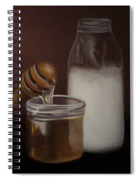 Spiral Notebook featuring the painting Milk And Honey  by Fe Jones
