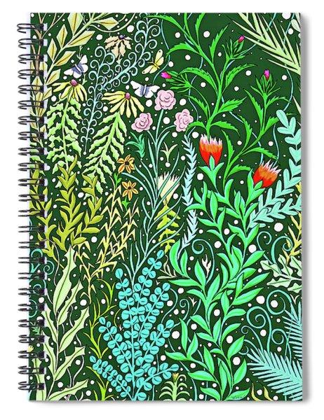 Millefleurs Design With Pink Roses, Black Eyed Susans And Butterflies Spiral Notebook