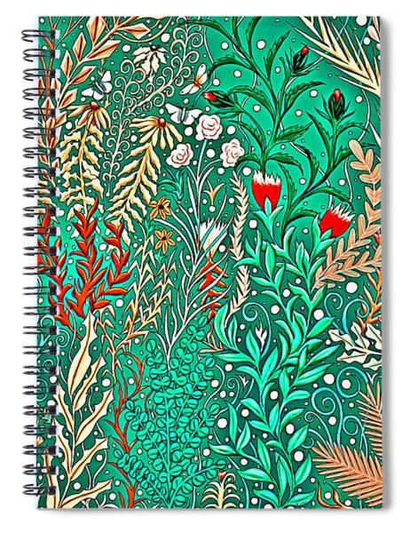 Millefleurs Home Decor Design In Brilliant Green And Light Oranges With Leaves And Flowers Spiral Notebook