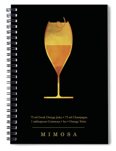 Mimosa - Cocktail - Classic Cocktails Series - Black And Gold - Modern, Minimal Decor Spiral Notebook