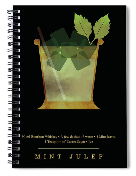 Mint Julep - Cocktail - Classic Cocktails Series - Black And Gold - Modern, Minimal Decor Spiral Notebook