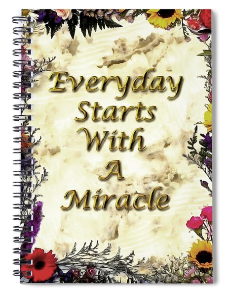 Spiral Notebook featuring the digital art Miracles by Mario Carini