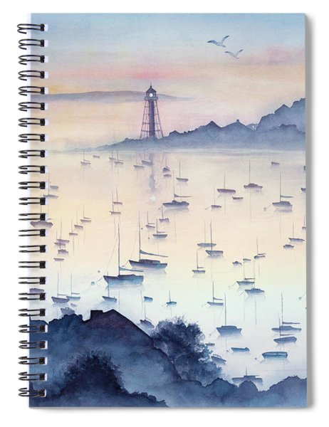 Misty Sunrise Marblehead Harbor Spiral Notebook