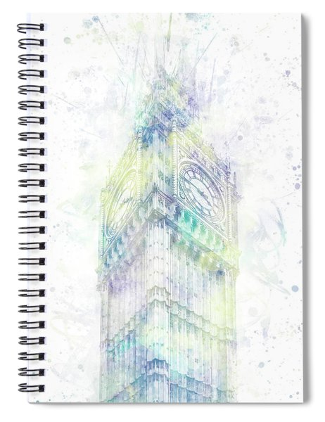 Modern Art Big Ben - Pastel Watercolor  Spiral Notebook by Melanie Viola