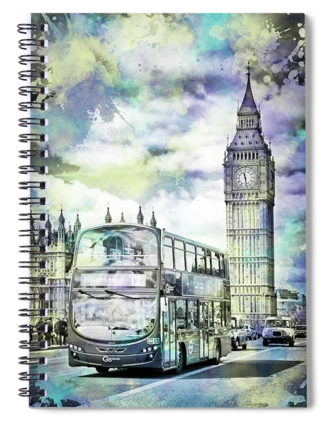 Modern Art London Street Scene Spiral Notebook by Melanie Viola