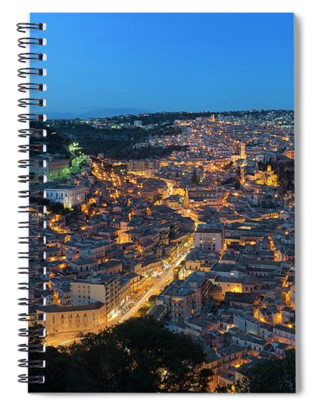 Spiral Notebook featuring the photograph Modica, Sicily by Mirko Chessari